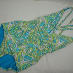 Athena Swim - ATHENA Printed Criss Cross 1 Piece SWIMSUIT Sz 10
